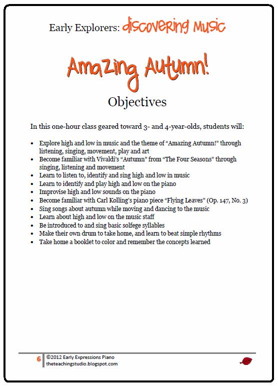 The Teaching Studio Amazing Autumn Lesson Plan