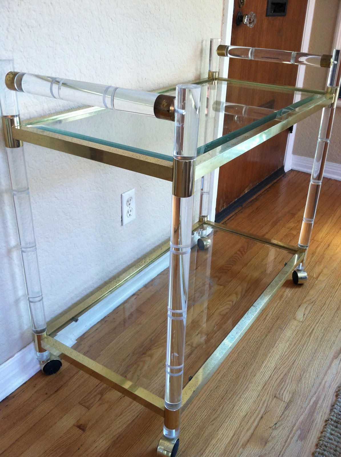 the treehouse 9 lucite glass and brass bar cart. Black Bedroom Furniture Sets. Home Design Ideas