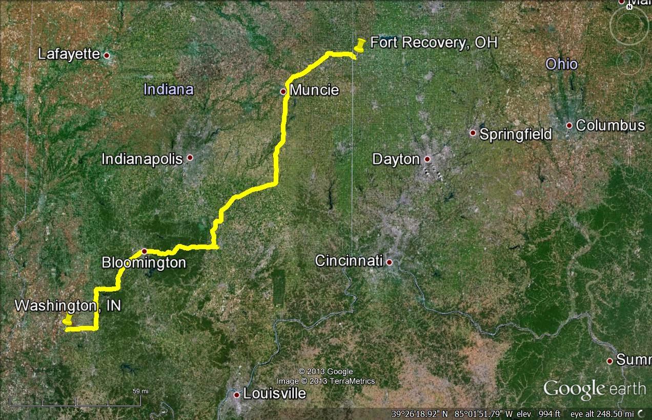 washington indiana to portland indiana 255 miles