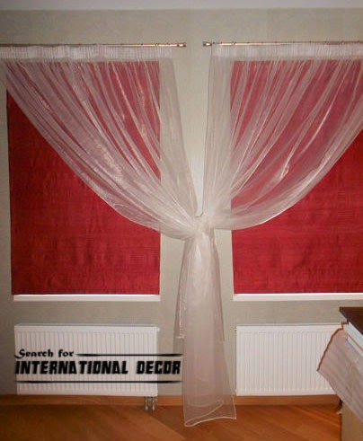 Roman blinds designed of red silk fabric