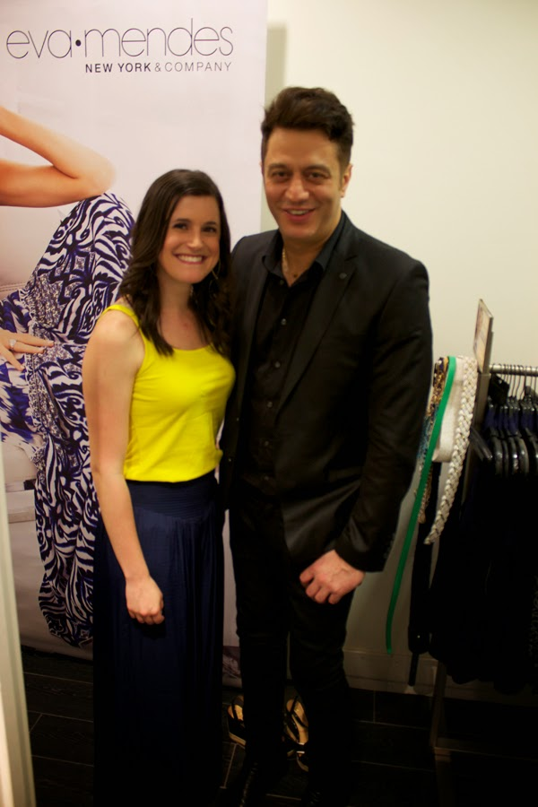 eva mendes new york & company, palazzo pants, navy pants, Alejandro Blanco