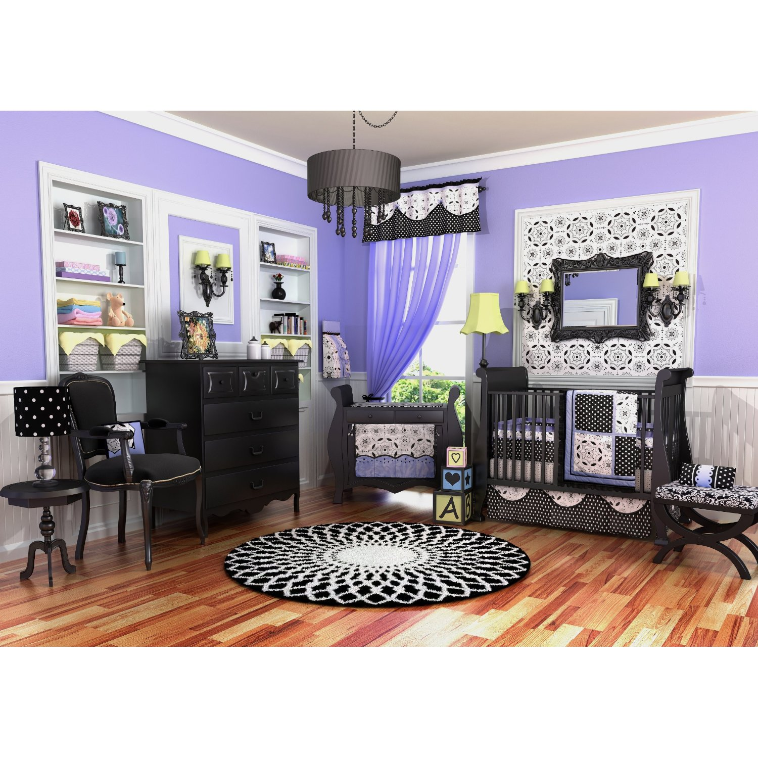 Nursery decorating ideas 5 unique looks for the new baby room honey lime - Purple black and white room ideas ...