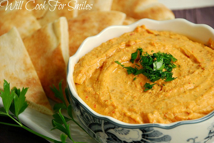 Roasted Red Bell Pepper Hummus Recipe — Dishmaps