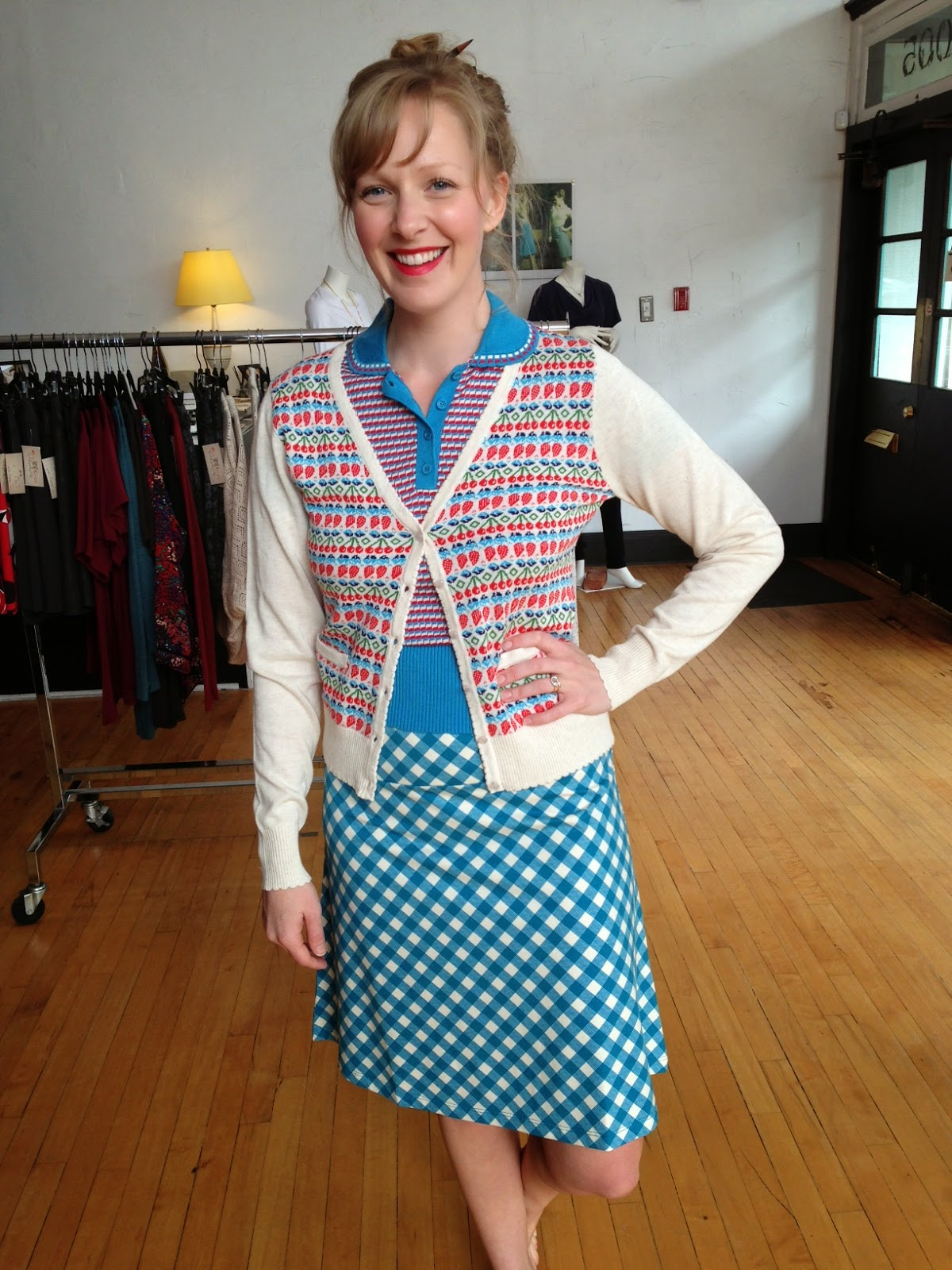 Louie et Lucie pebble polo top ($78),  summer fruit v-neck cardigan ($88), Jacky skirt ($68) at Folly