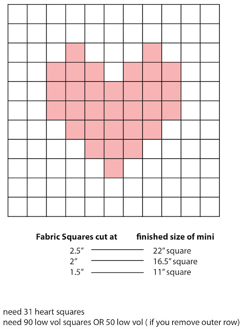 Pixelated Heart Mini Quilt - the math and diagram to make your own
