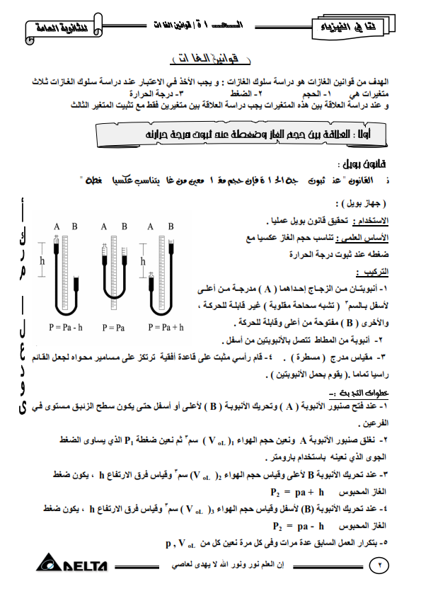 فيزياء 2 ثانوي 2015 مذكرة مستر اكرم
