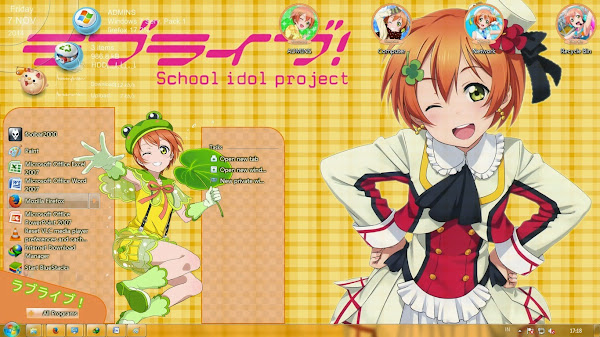 [Theme Win 7] Love Live! School Idol Project – Hoshizora Rin By Kanza 2