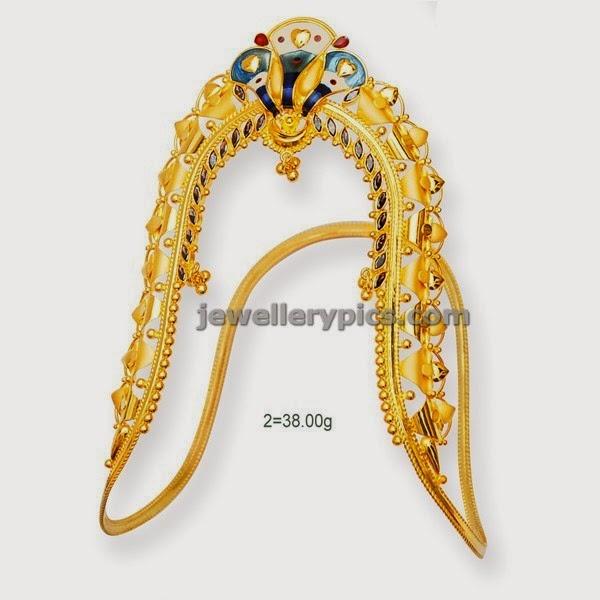 gold aravanki with snake inspired pattern