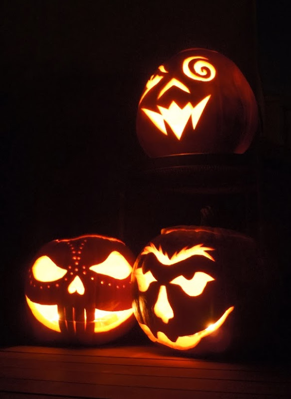 Carved Halloween pumpkin trio