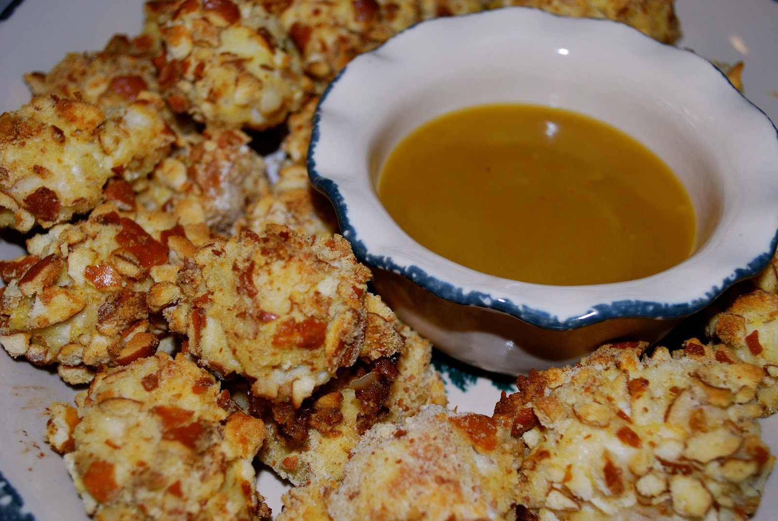 ... : Pretzel Coated Chicken Nuggets with Honey Mustard Dipping Sauce