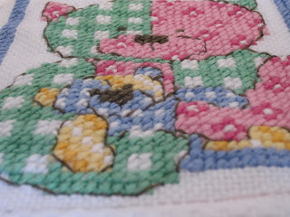 teddy bear afghan close up on chunky cross stitches