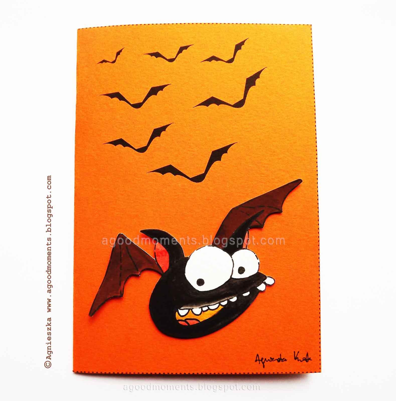 Funny Bat Halloween Card Smieszny Nietoperz Kartka