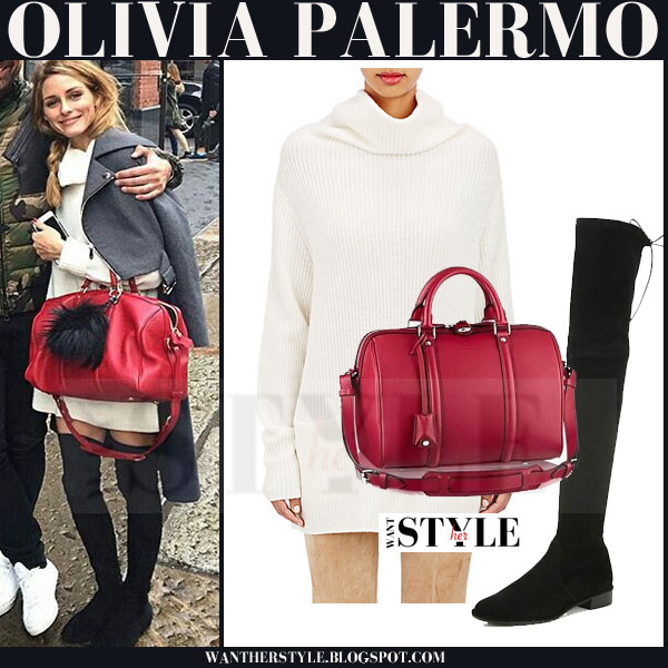 Olivia Palermo in grey Dior coat with cream vince turtleneck sweater and black suede stuart weitzman lowland boots what she wore winter outfit
