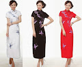 Short Sleeve Butterfly Embroidery Long Cheongsam Dress