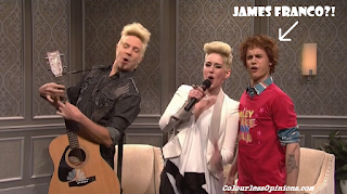 Justin Bieber looks like James Franco on Miley Cyrus Talk Show skit SNL Saturday Night Live 2013
