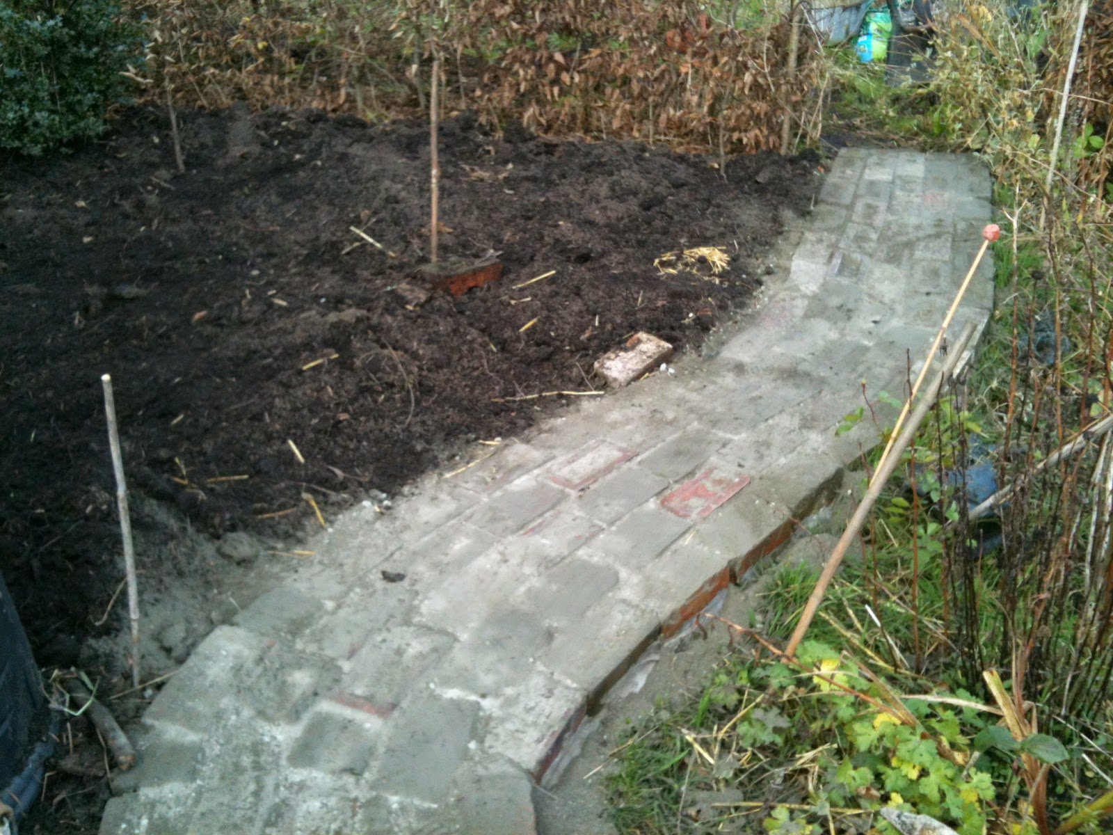 Building paths from reclaimed bricks #lifeonpigrow #DIY