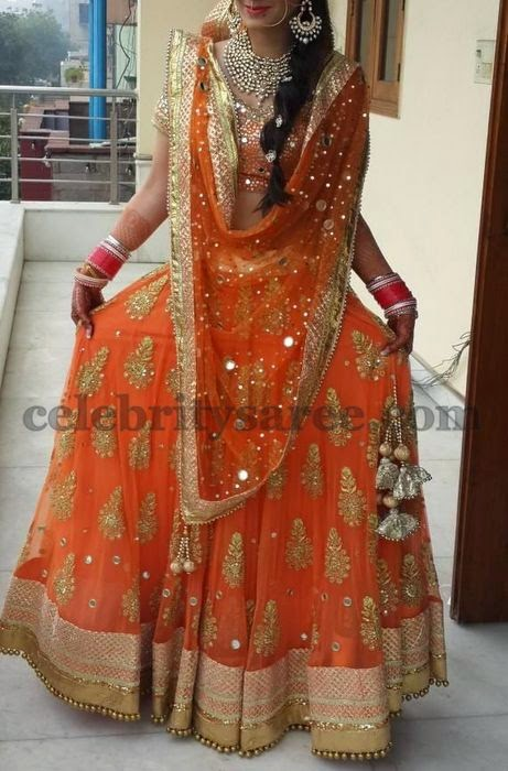 Light Peach Net Lehenga