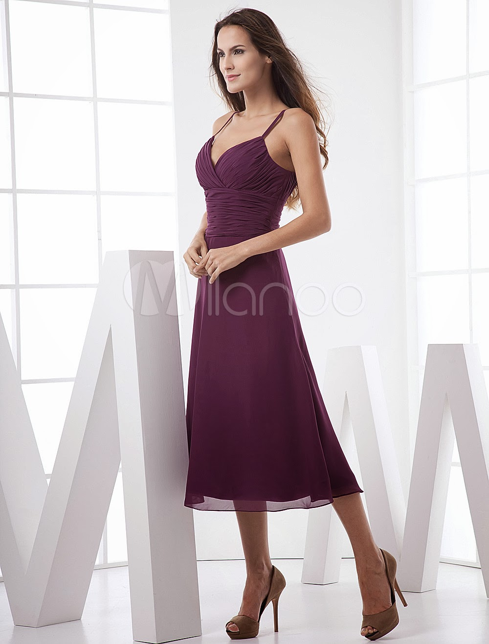 China Wholesale Dresses - Classic Spaghetti Sweetheart Wrapped Tea Length Chiffon Summer Prom Dress