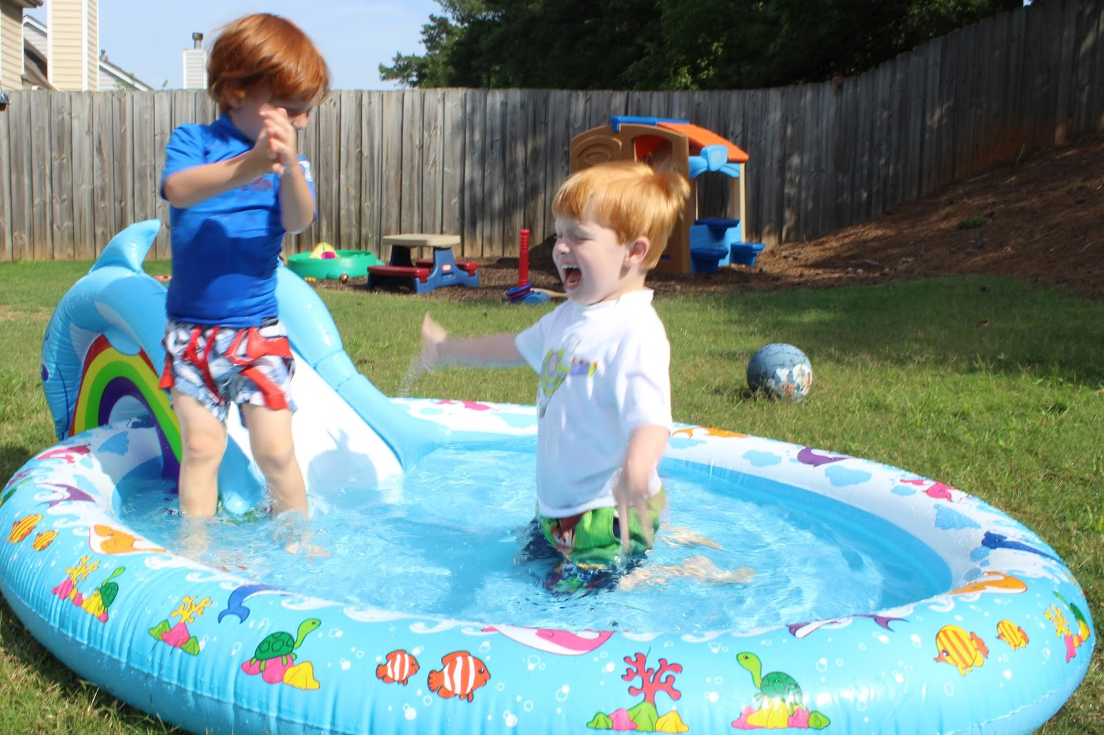 backyard pool time redhead baby mama atlanta blogger