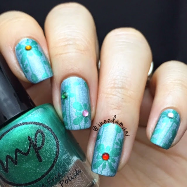 bp51 green and blue floral gem nails