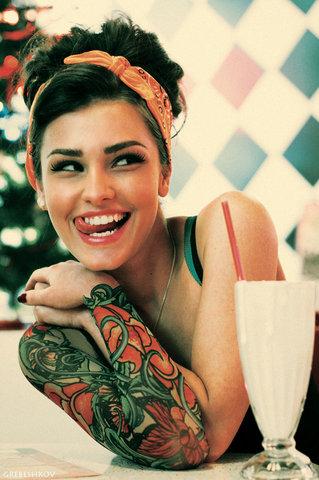 tattoo girl likes milkshake Hipster Chicks