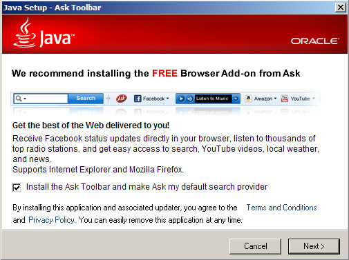 The default setting is to install the Ask Toolbar and make Ask my