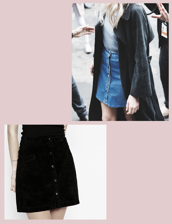 seventies+skirt+denim+buttoned+vintage+70's+trend+how to wear+black+inspiration