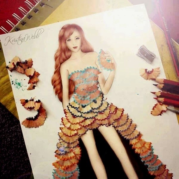 pencil shaving art on dress
