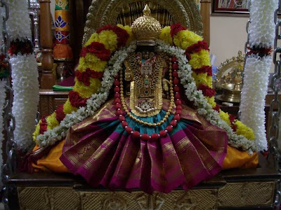 Picture of Goddess Varalakshmi decorated for Varalakshmi Puja