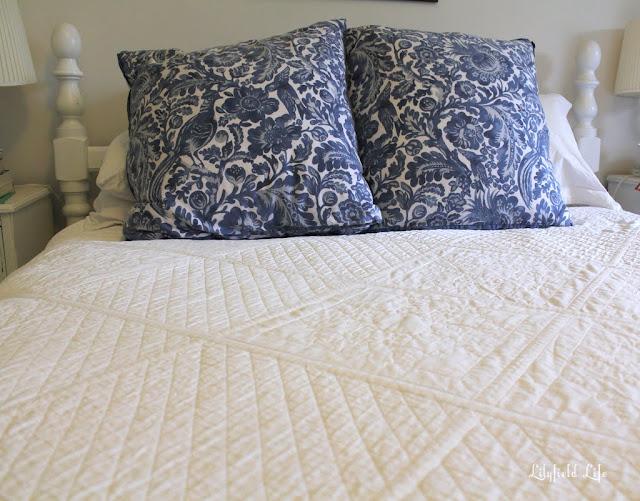 hand sewn white quilt