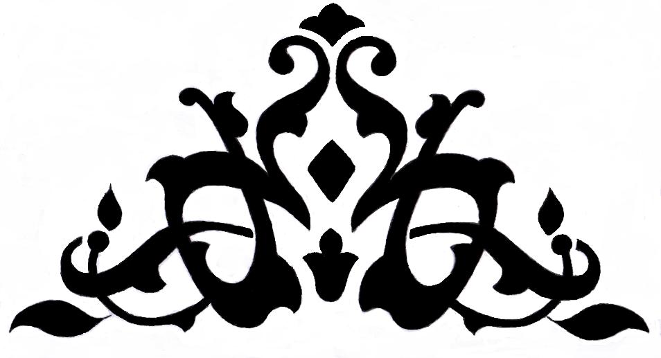 Contoh Ornamen bentuk menyudut tidak simetris (motif tumbuhan)