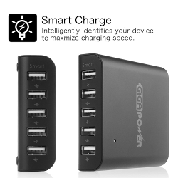 Fintie 40W 5-Port USB Charger High Speed Charging Station with Intelligent Auto Detect Technology Desktop Rapid USB Charging Hub Portable for Tablets, Smartphones & More
