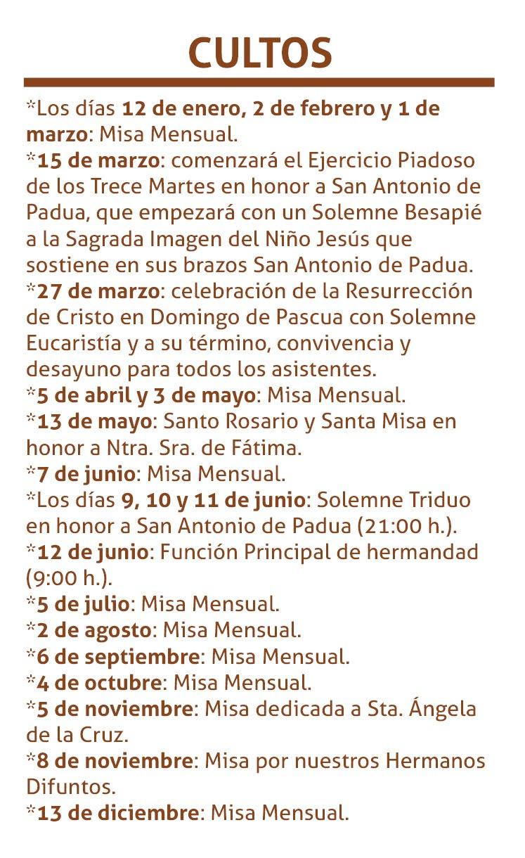 Calendario de Cultos 2016