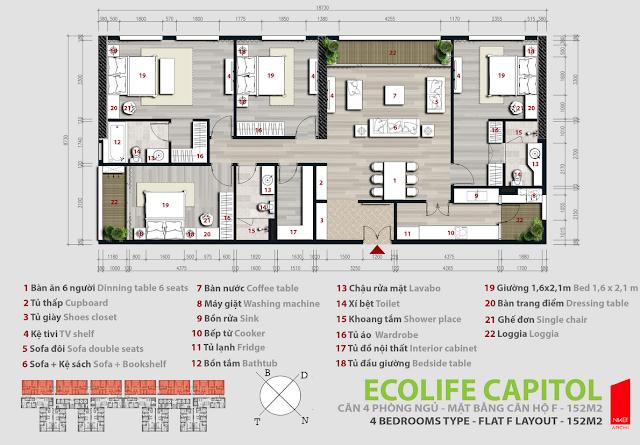 Căn hộ 152m2 - Ecolife Capitol
