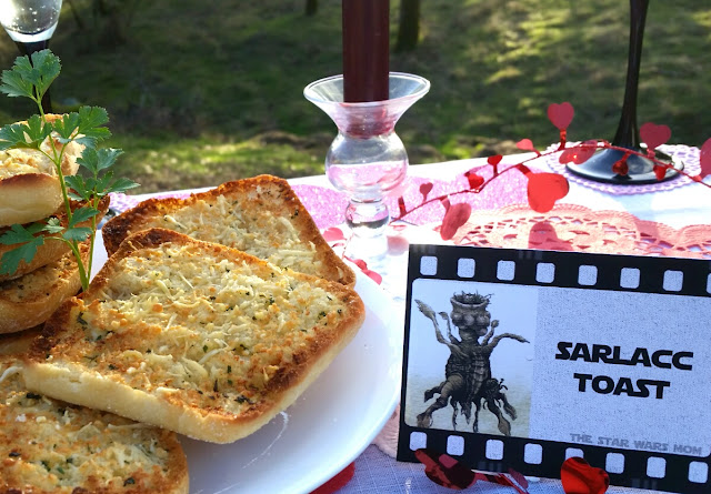 Star Wars Party Food - Sarlacc Toast AKA Garlic Toast with Cheese or Garlic Bread