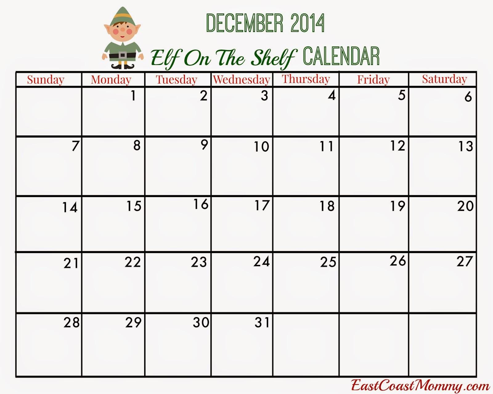 East Coast Mommy: Elf on the Shelf Calendar