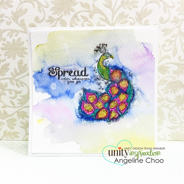 ScrappyScrpapy: Pretty as a peacock #scrappyscrappy #unitystampco #card #dylusions #stamp