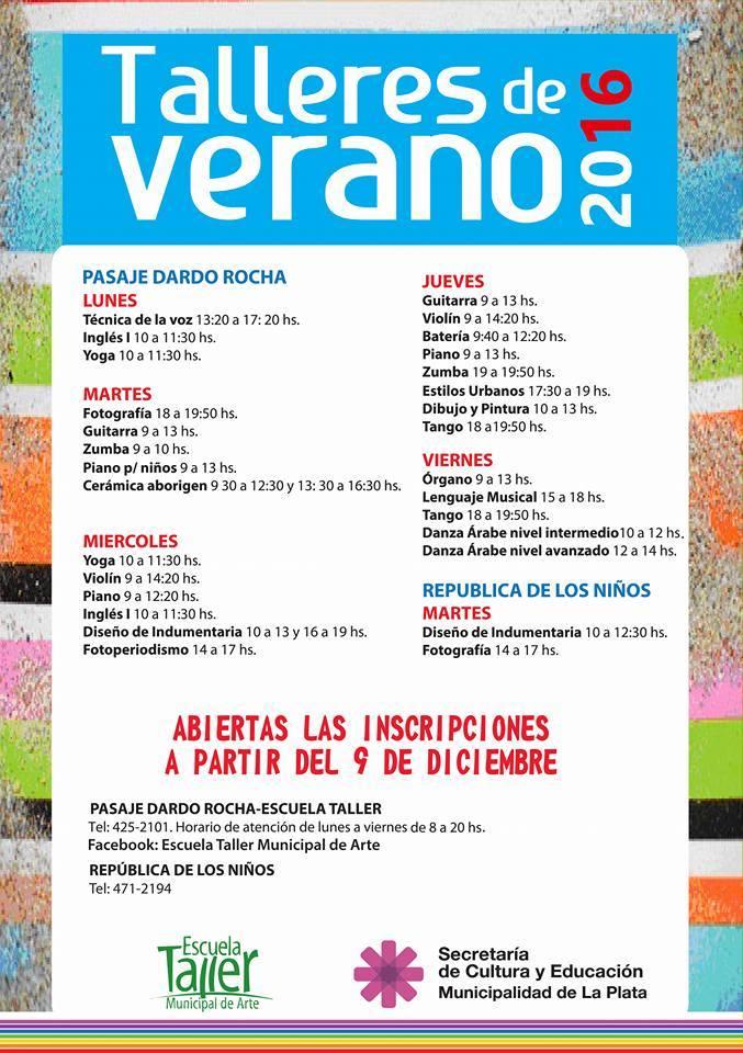 TALLERES DE VERANO EN EL PASAJE DARDO ROCHA