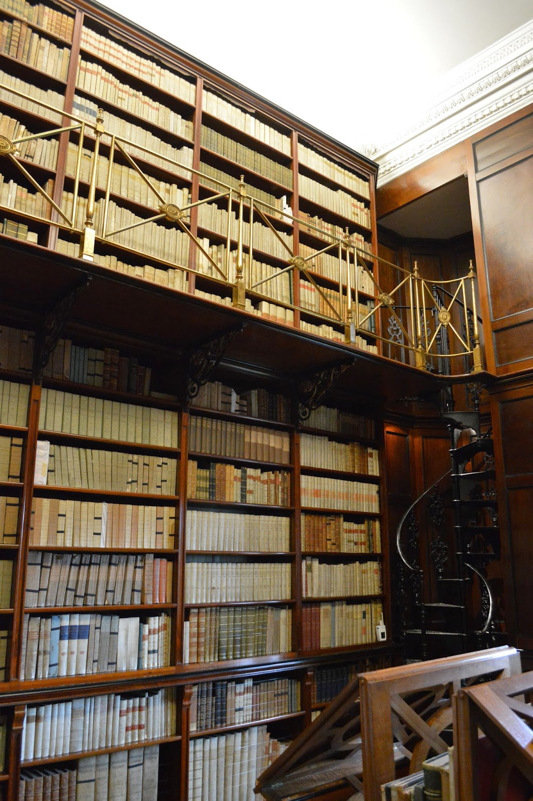 Library, spiral staircase, Sudbury Hall, photos, photograph, historical properties, BBC Pride and Prejudice film location, National Trust, review, derby, 17th century, inside, outside, visit