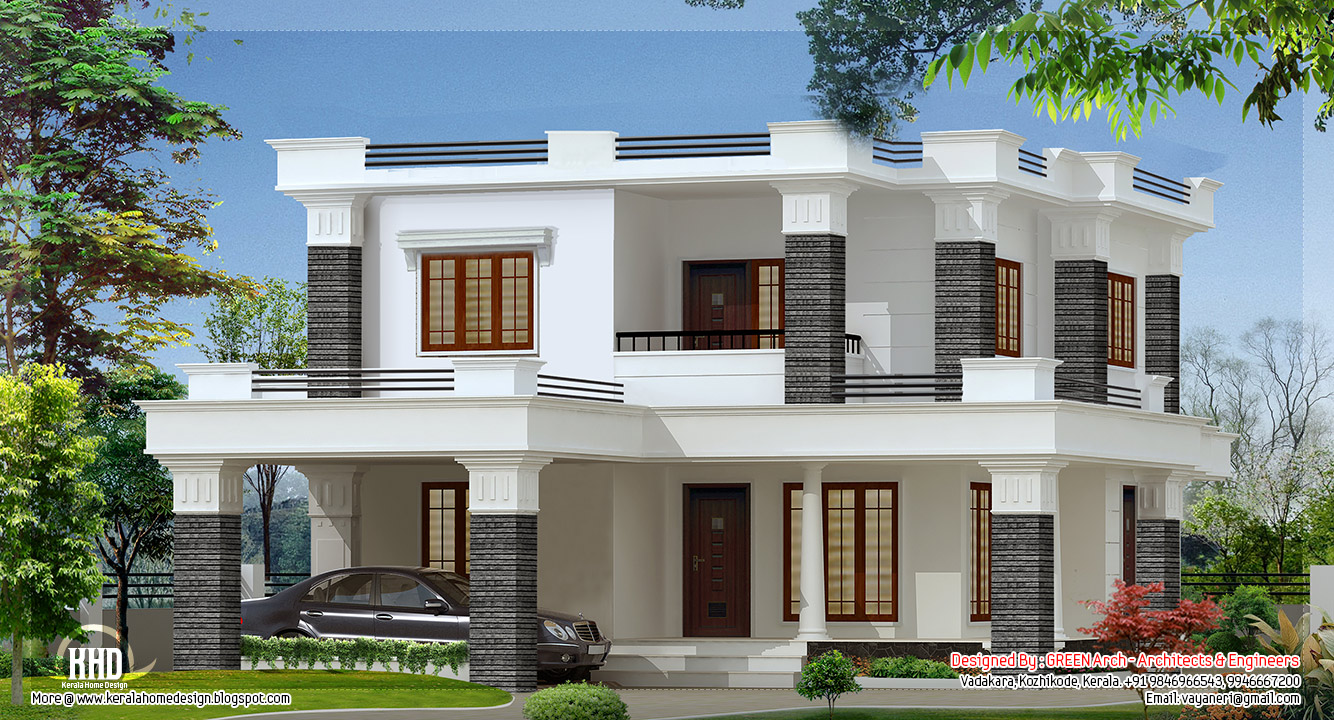 Flat roof villa design. 2000 sq feet 4 bedroom flat roof villa   Kerala home design and