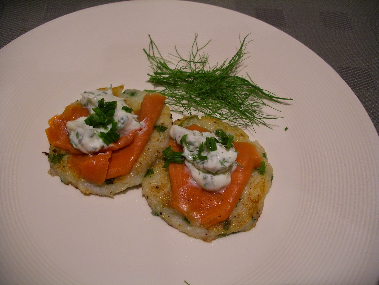 ... IN THE SAND: Potato cakes with smoked salmon and herb crème fraîche