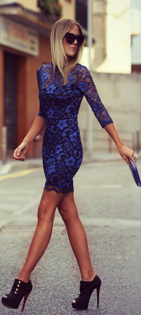 Sexy Blue Lace Dress with High Heel Booties | Chic Street Outfits