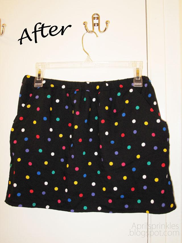 Rainbow Polka Dot skirt from button-up shirt refashion