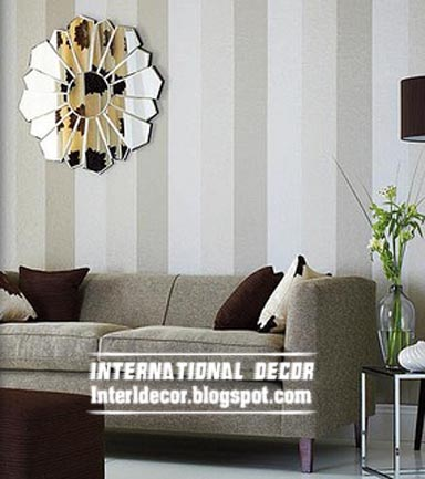 Modern Striped Wallpaper Grey For Living Room Interior Design Ideas