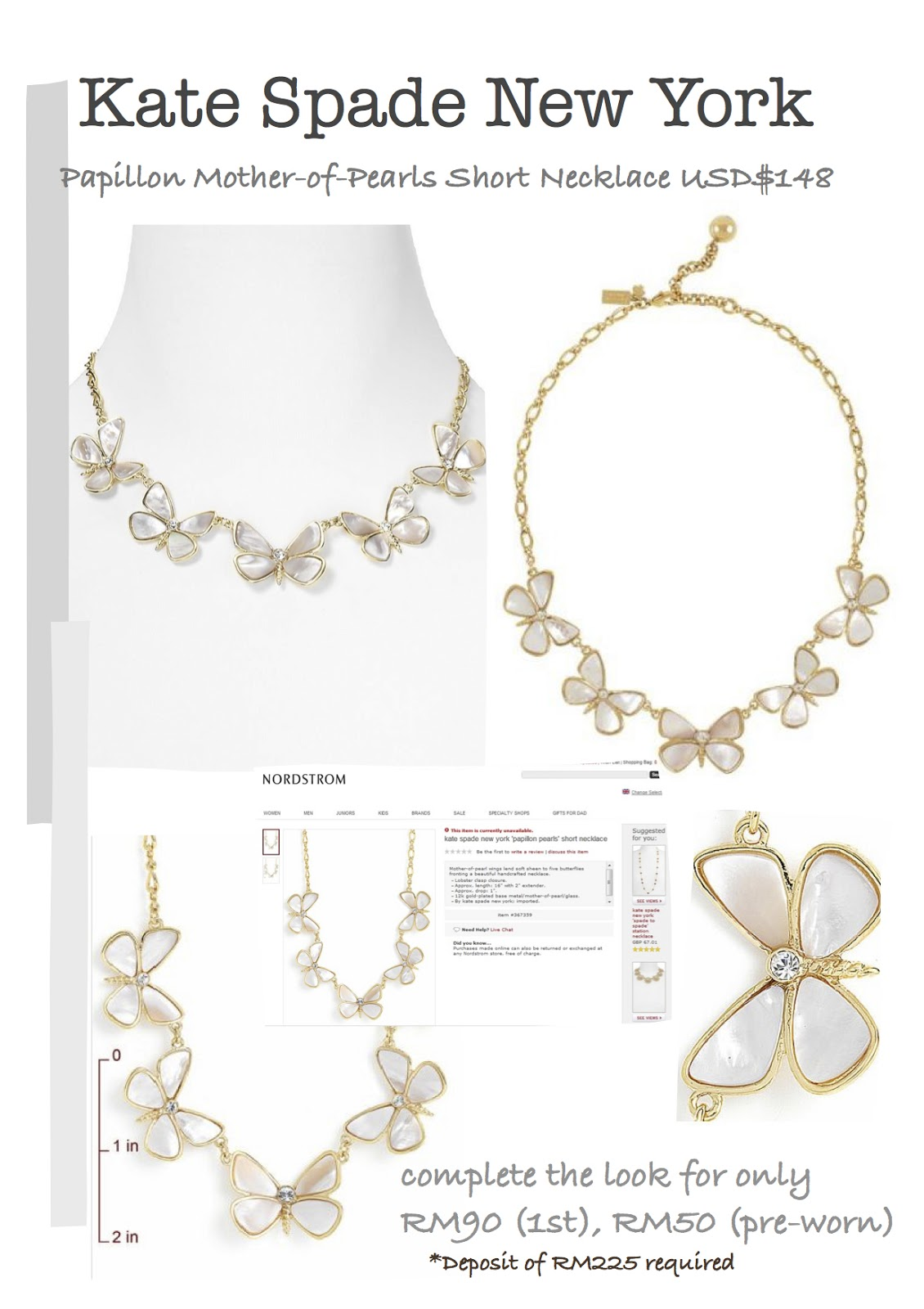 Kate spade new york papillon pearls short necklace usd 148 for Papillon new york