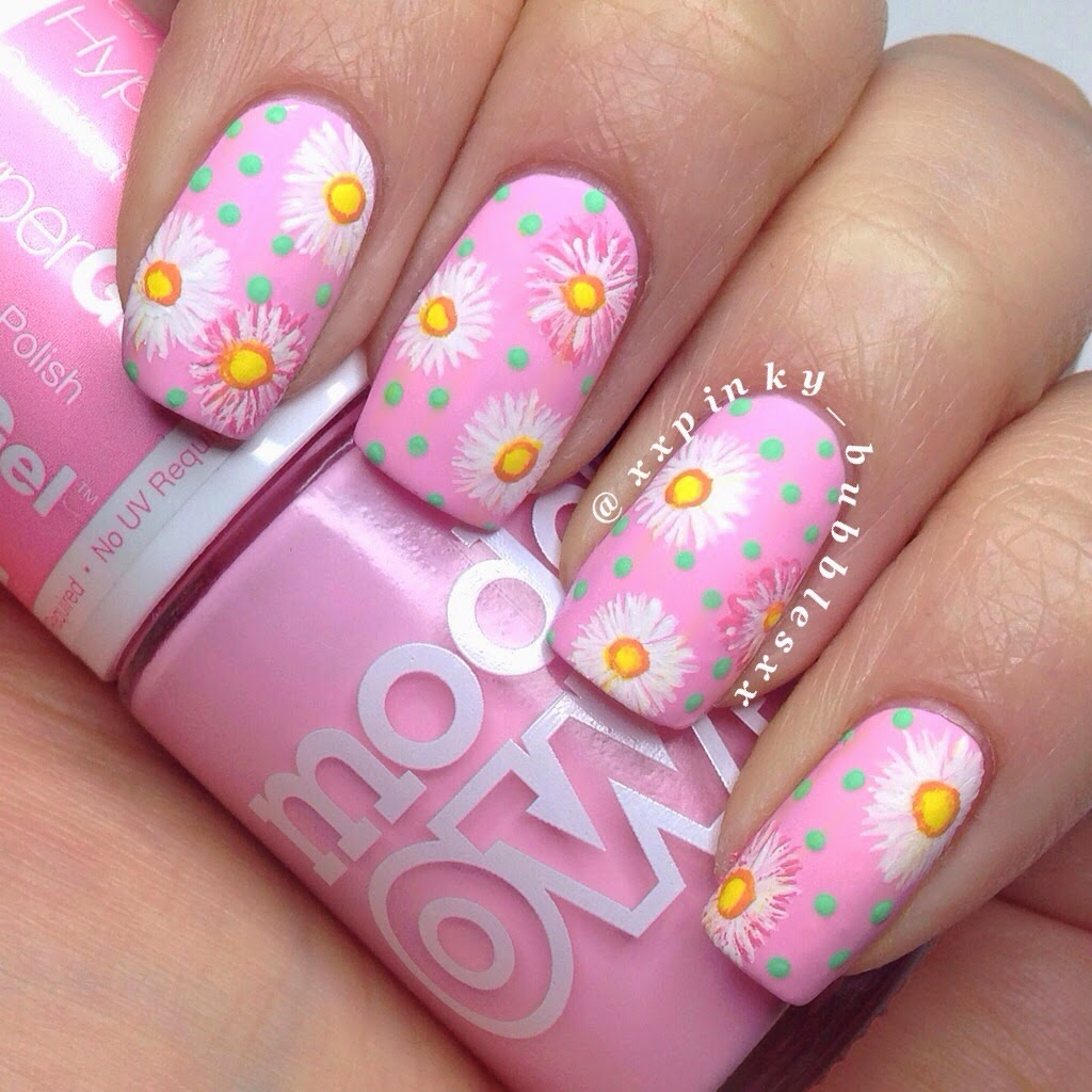 Nail Designs Using Pink: Girlish pink and gold nail designs with a ...