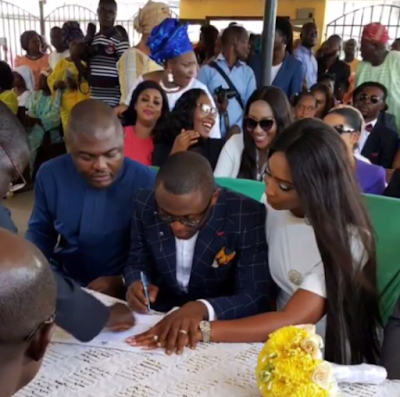 Lilian Esoro and Husband Ubi Franklin wed at Ikoyi Registry00