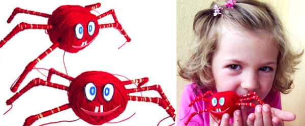 Arañas hechas con lana o hilo