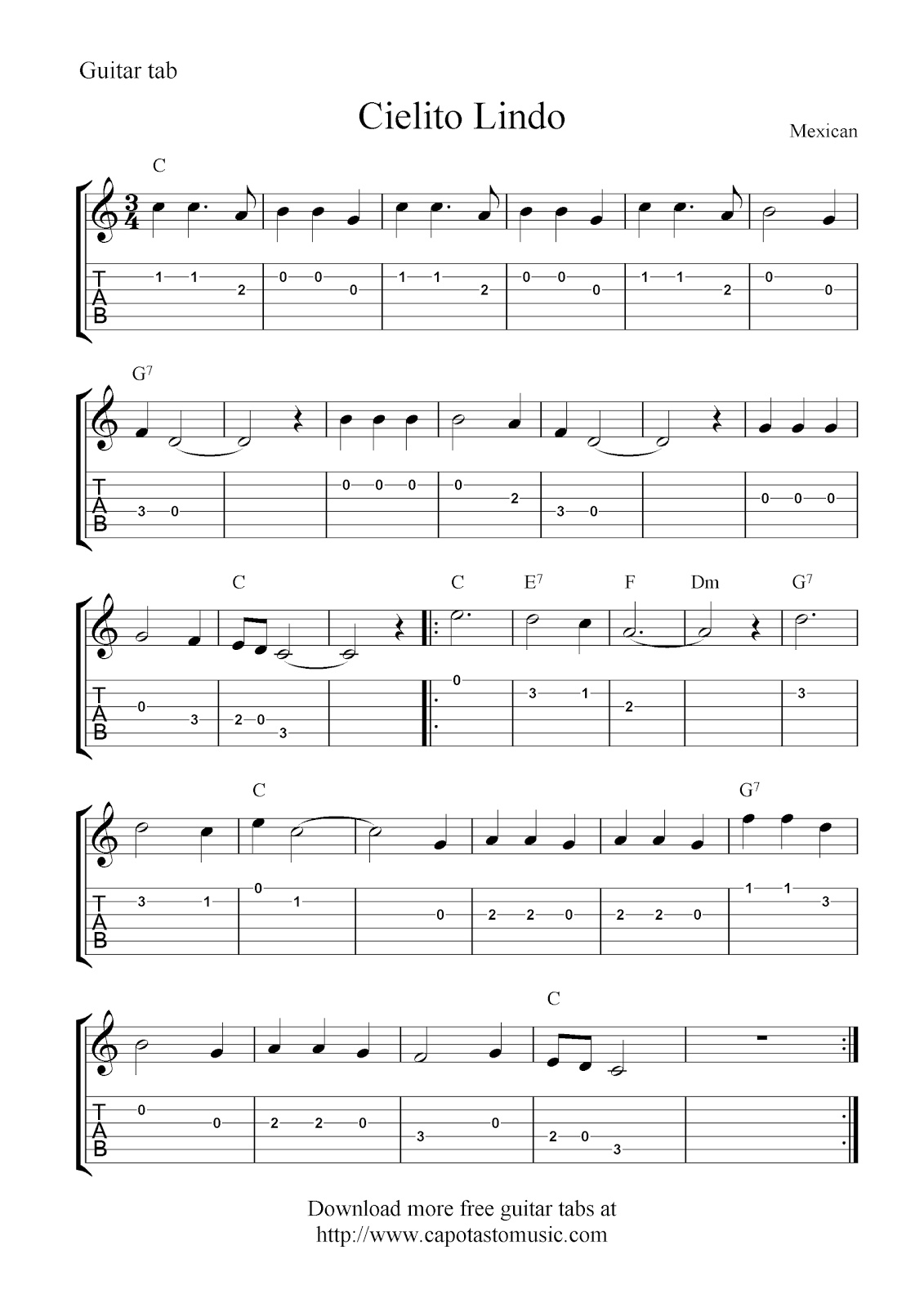 Free guitar tablature sheet music notes, Cielito Lindo