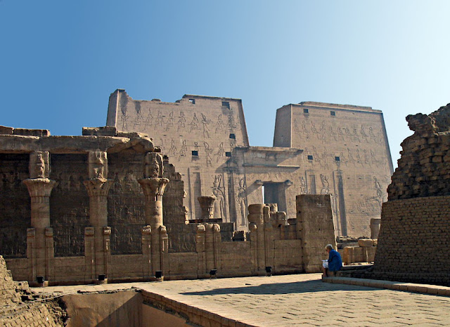 ruins of the temple of edfu in egypt